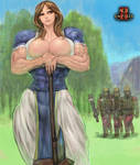 A little strong female lumberjack villager