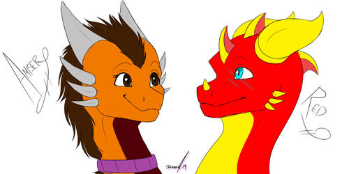 Commission - Amber and Red by RavenNocturna