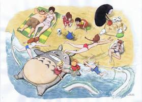 Miyazaki Folks at the Beach by JoriB