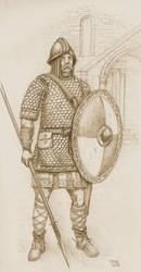 Frank Heavy Horseman, VIII century AD. sepia