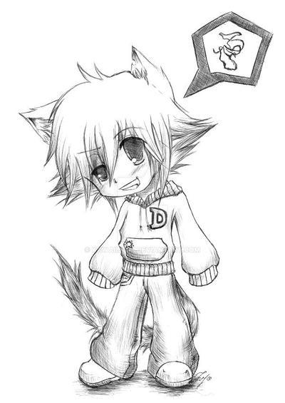 Lineart Neko Boy Chibi