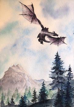 Dragon flying over landscape