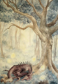 Dragon in forest meadow