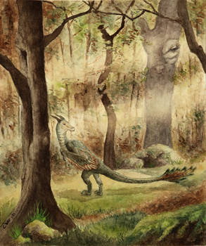 Forest path with dragon