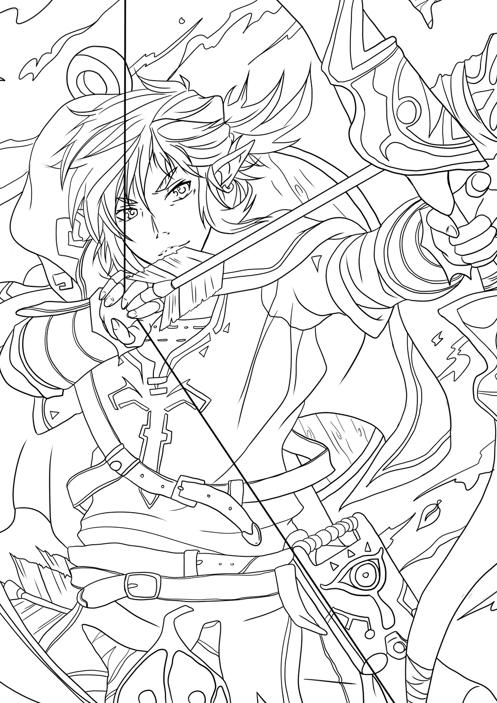 Link Breath of the wild - outlines by Sebbi-chan on DeviantArt