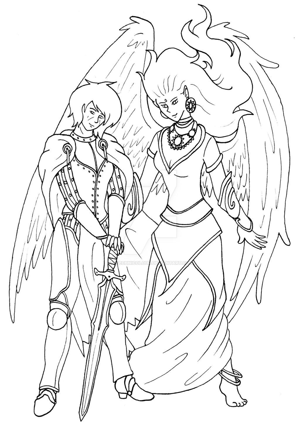 Iomedae and Sarenrae by KTechnicolour