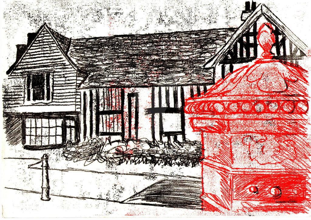 Ancient House Mono Print by KTechnicolour