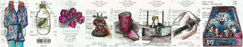 Receipt Doodles by KTechnicolour