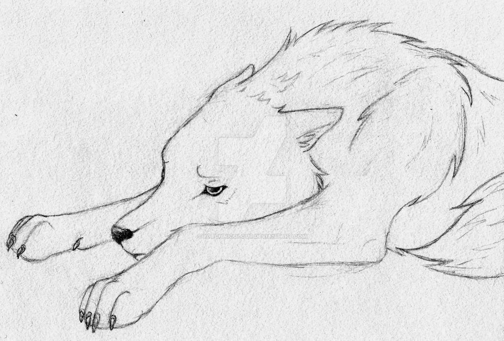 Sad wolf sketch by KTechnicolour