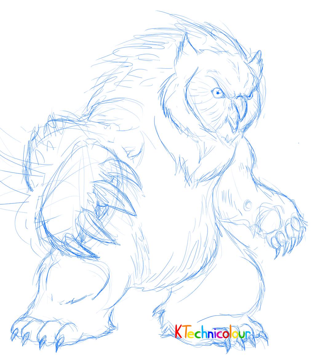 Owl Bear Sketch by KTechnicolour