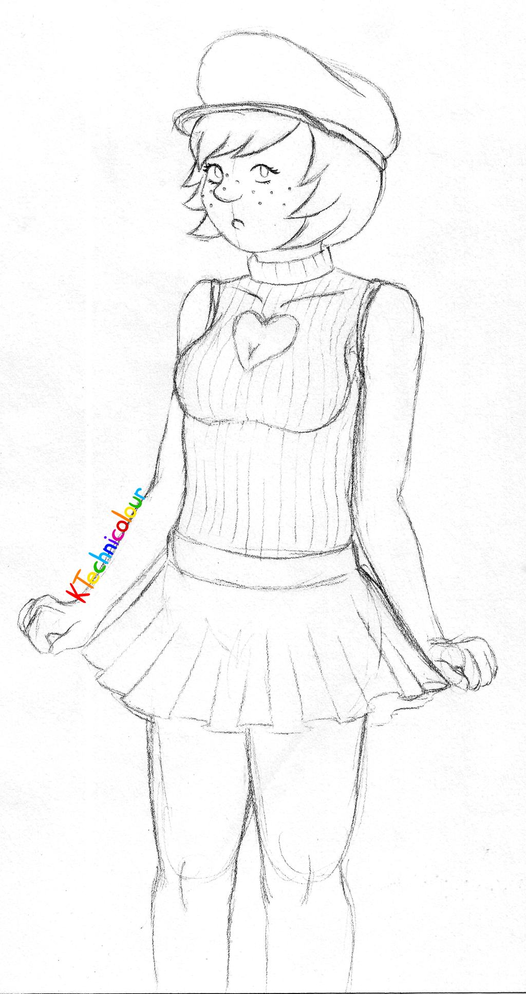 Keyhole Sweater Girl Sketch by KTechnicolour