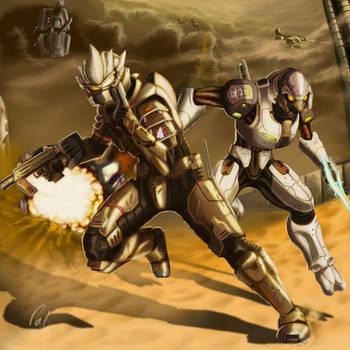 halo 3- desert battle by wyvernsmasher