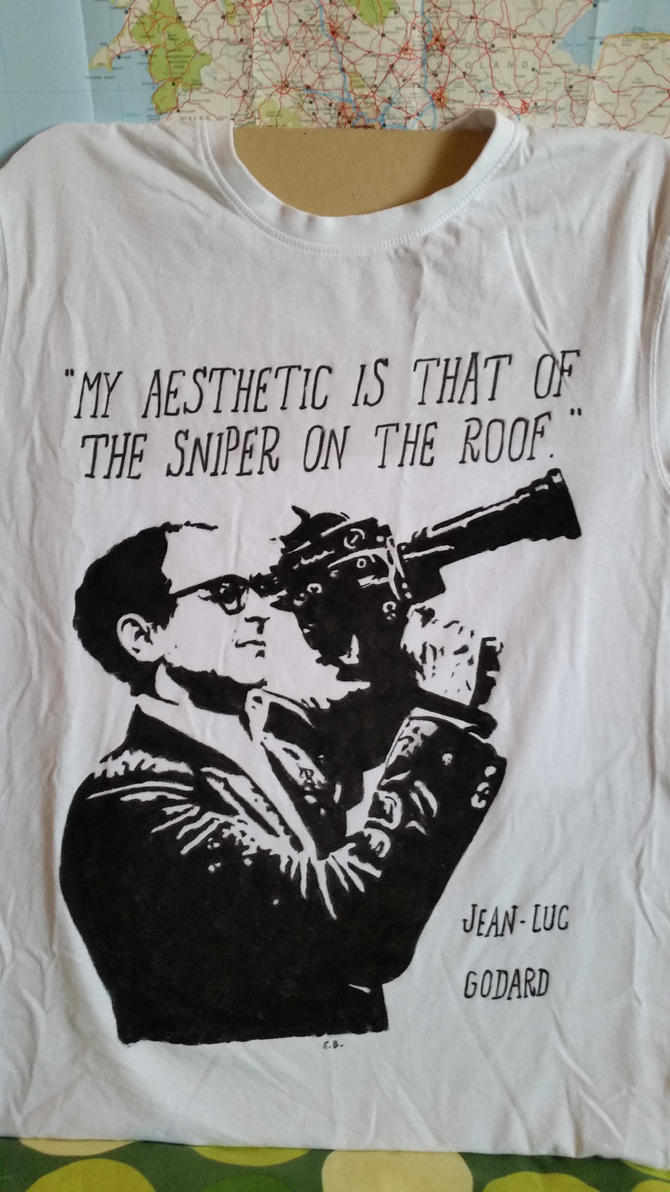 Hand Painted T-Shirt Jean-Luc Godard by NightstreetDreamer