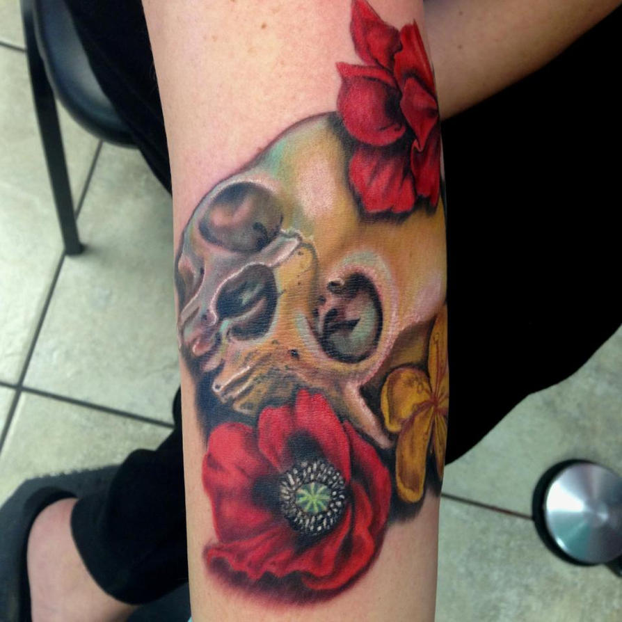 Skull and medicinal flowers tattoo by mikeashworthtattoos for Skull and flowers tattoos