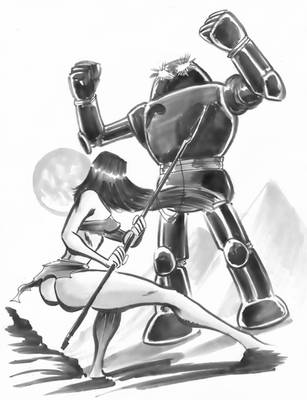 NATIVE GIRL CONFRONTS THE EVIL ROBOT by TimPhillips