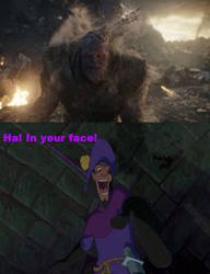 Clopin laughs in Thanos' face by Negaboss2000