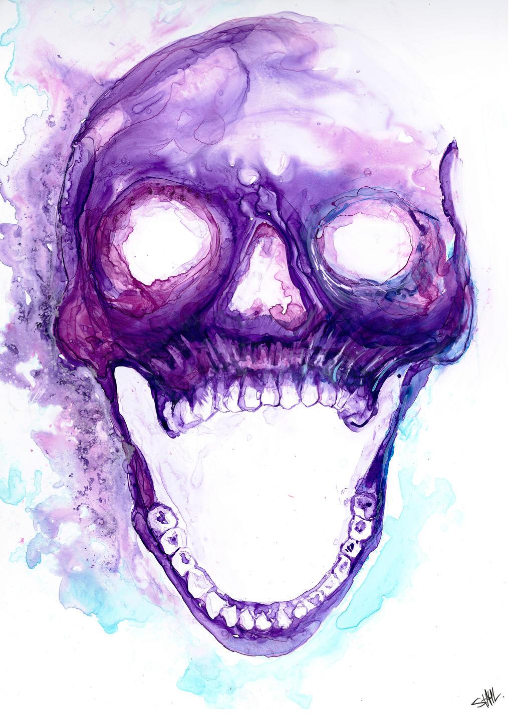 Skull Art Tumblr Purple Skull by clemen...
