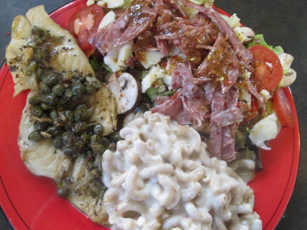 Fish mac n cheese and salad by kukuramutta on deviantart for Mac s fish and chips