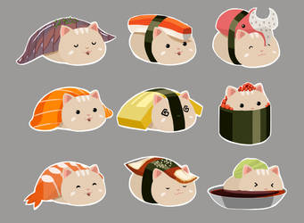 Sushi Cat by artofrussell