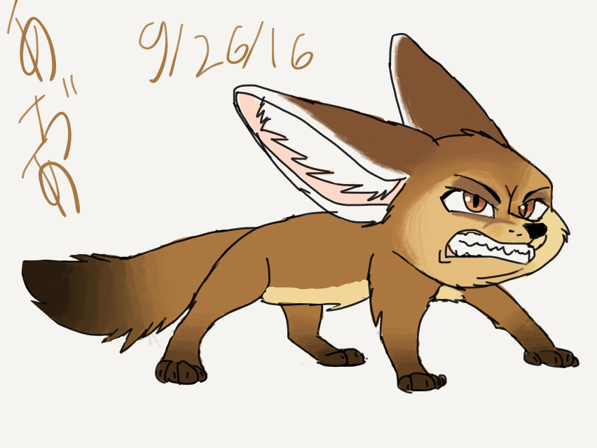 7th grade drawing: fennec fox by arseniccatnip88