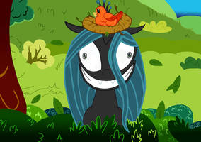 Queen Chrysalis acts like Twilight (Coloured)