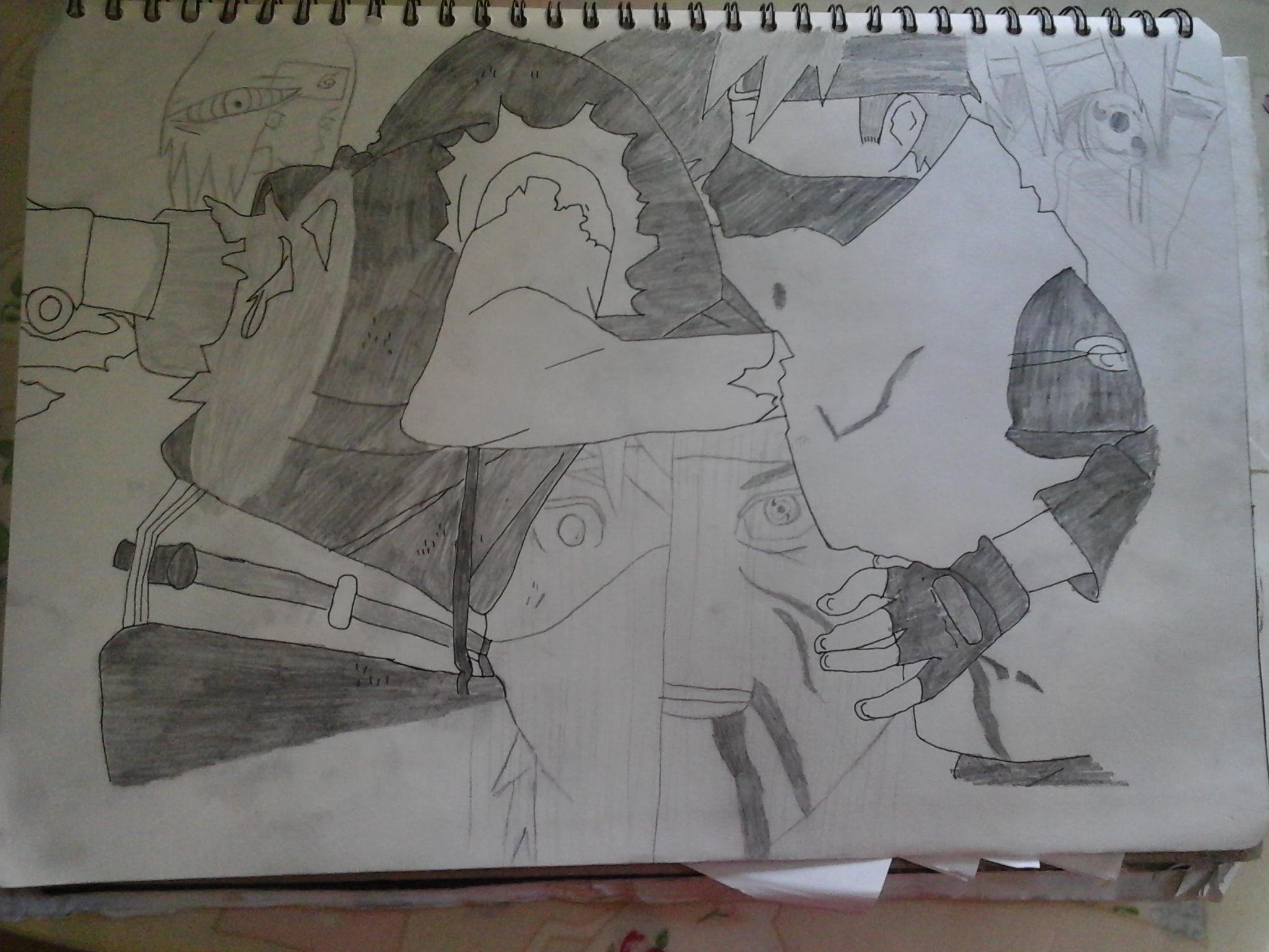 Kakashi vs Obito Drawing by BlueSparkes on DeviantArt