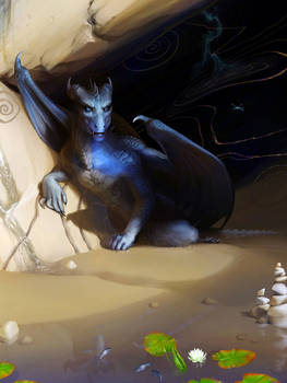 Blue Dragon in cave