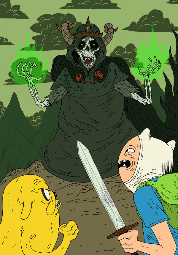 Finn and Jake Vs The Lich King by burnay