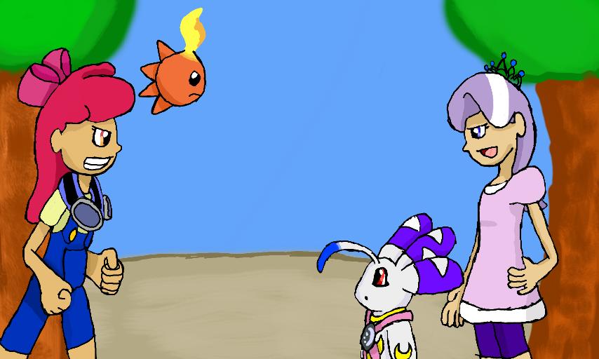 My Little Genchat #4: Trixie is best pony Two_digidestined_rival_battle_by_klonoahedgehog-d5ekp4b