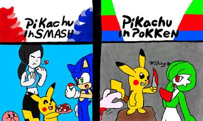 Pikachu in fighting games by Klonoahedgehog