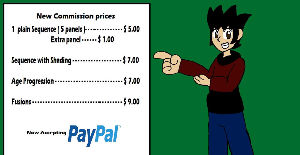 PayPal commission prices. Commissions open