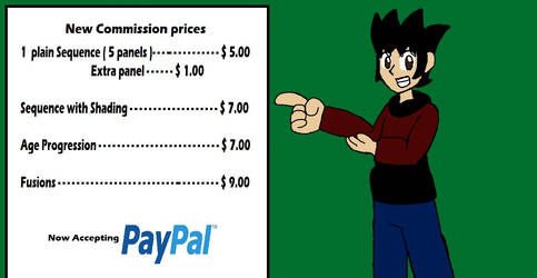 PayPal commission prices. Commissions open by Klonoahedgehog