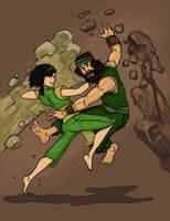 Toph and Haru Rock vs Rock by liruichen