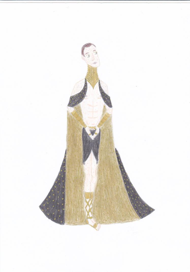 Balem in shiny cloak and black skirt by Szerzetes
