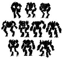 Boxing Mech Silhouettes