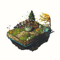 Isometric Garden Pixel Art by CursedMatcha