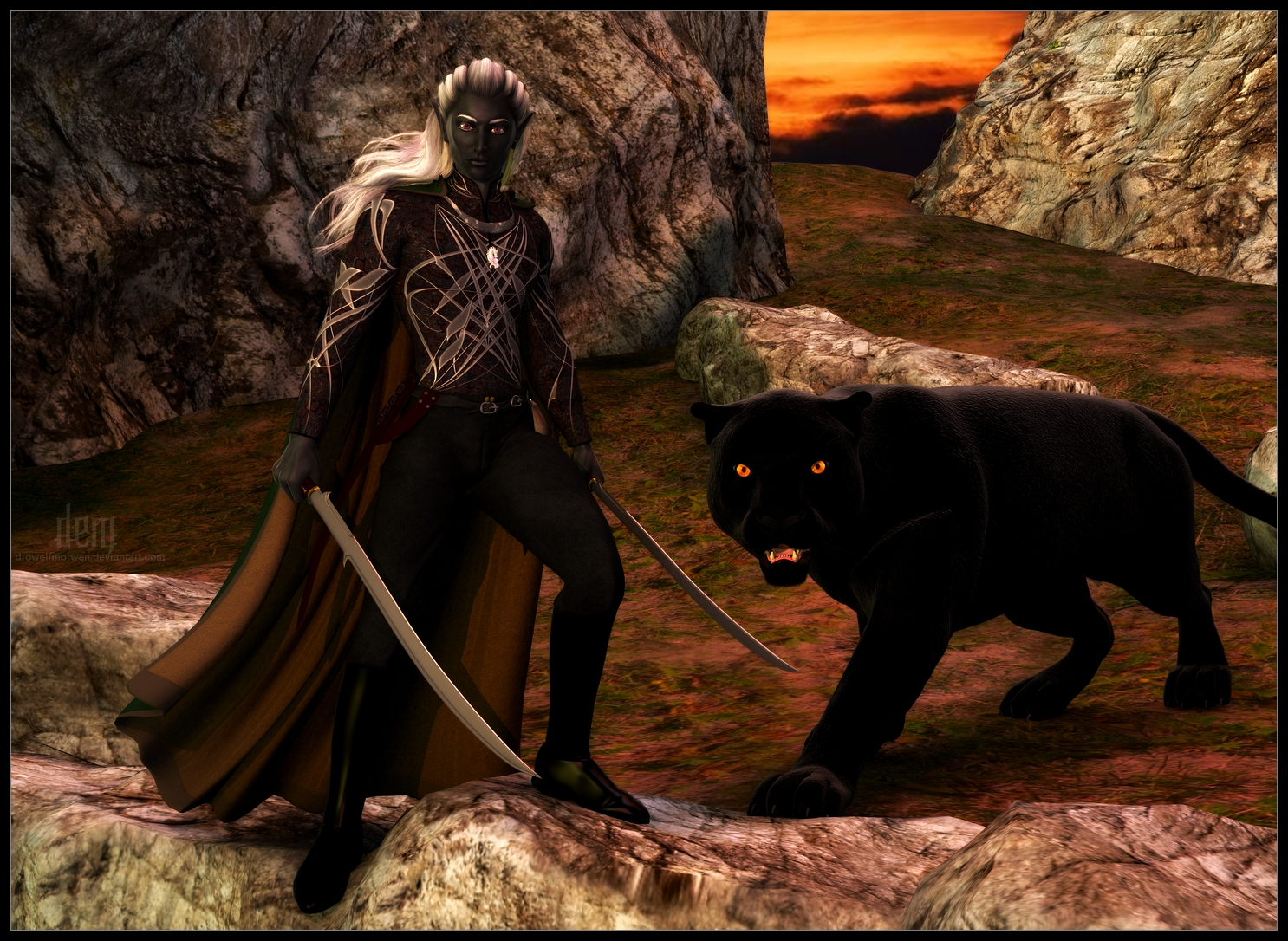 http://fc00.deviantart.net/fs71/f/2012/279/8/4/drizzt_do__urden_and_guenhwyvar____twilight_by_drowelfmorwen-d5gd40x.jpg