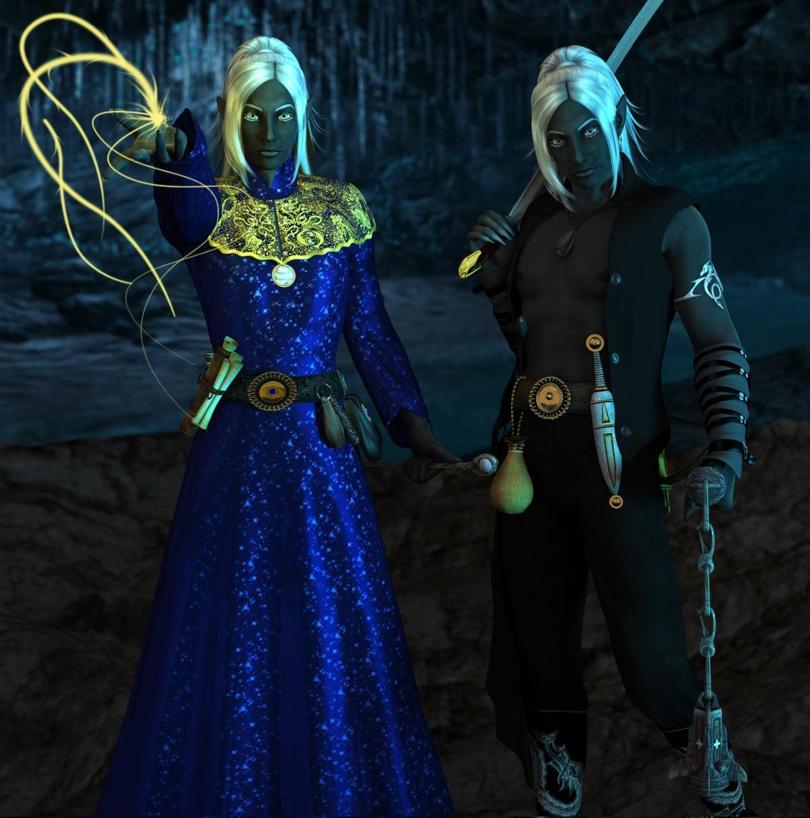 Honglath and Veldrin :: Drow Twins II by DrowElfMorwen on