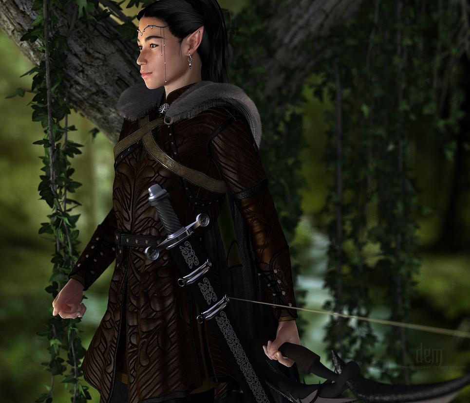 Galaen Hollyhock :: Forest Ranger by DrowElfMorwen
