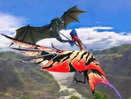 Dragon vs Toruk by DrowElfMorwen