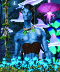 Tentskatawa :: Na'vi Portrait by DrowElfMorwen
