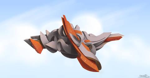 graffiti digital 3d naranja gris 2 by Debecas