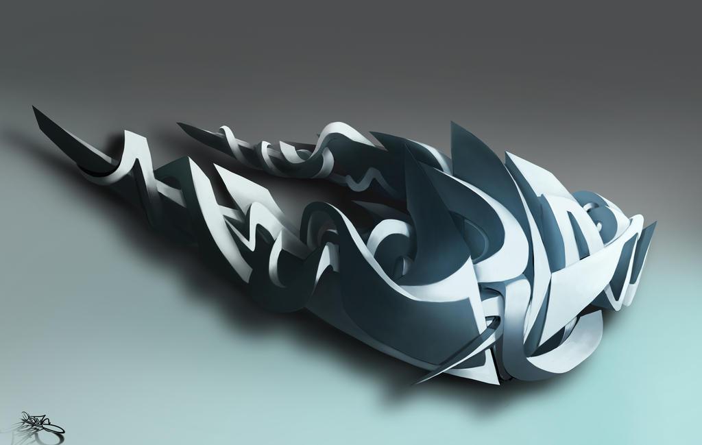 graffiti digital 3d  en u by Debecas