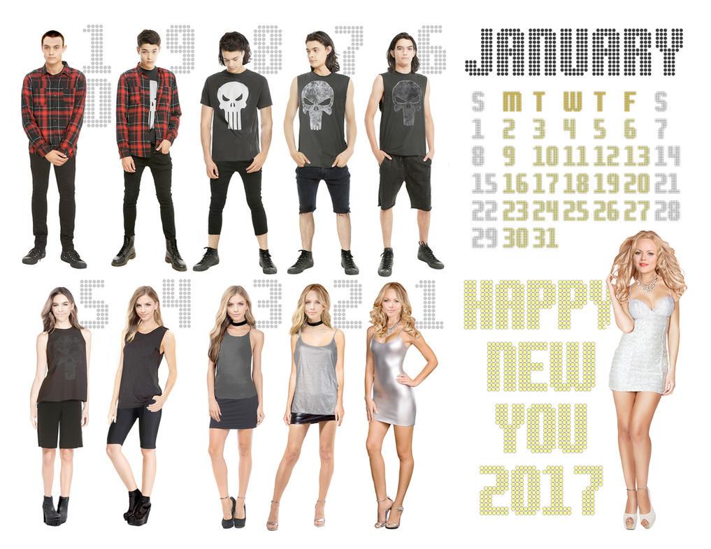 2017 M-to-F Pin-Up Calendar - January by CrisKane
