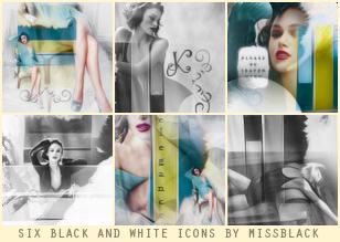 Six Black and White Icons by EmeliaJane