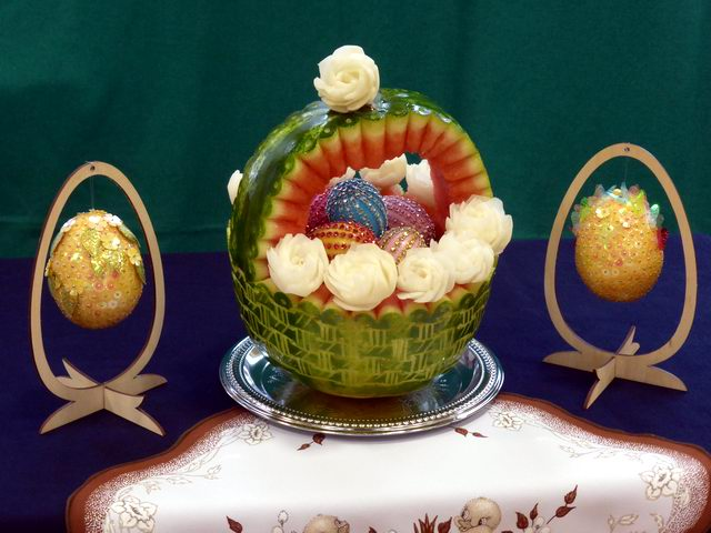 Watermelon carving easter basket and eggs by