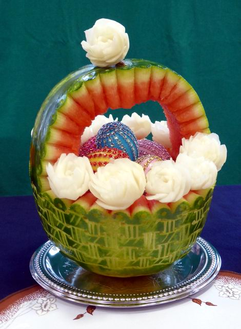 Watermelon carving easter basket by jolabrodnica on