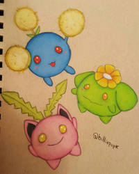 Hoppip, Jumpluff and Skiploom by mochi