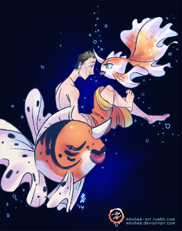 Justin's Water Pokemon - Goldeen and Seaking by mmishee