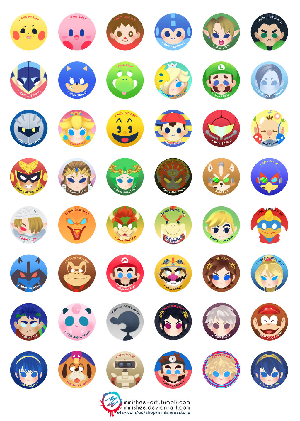 Super Smash Bros buttons by mmishee